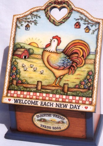 Rooster on Recipe Box & Three Farm Eggs